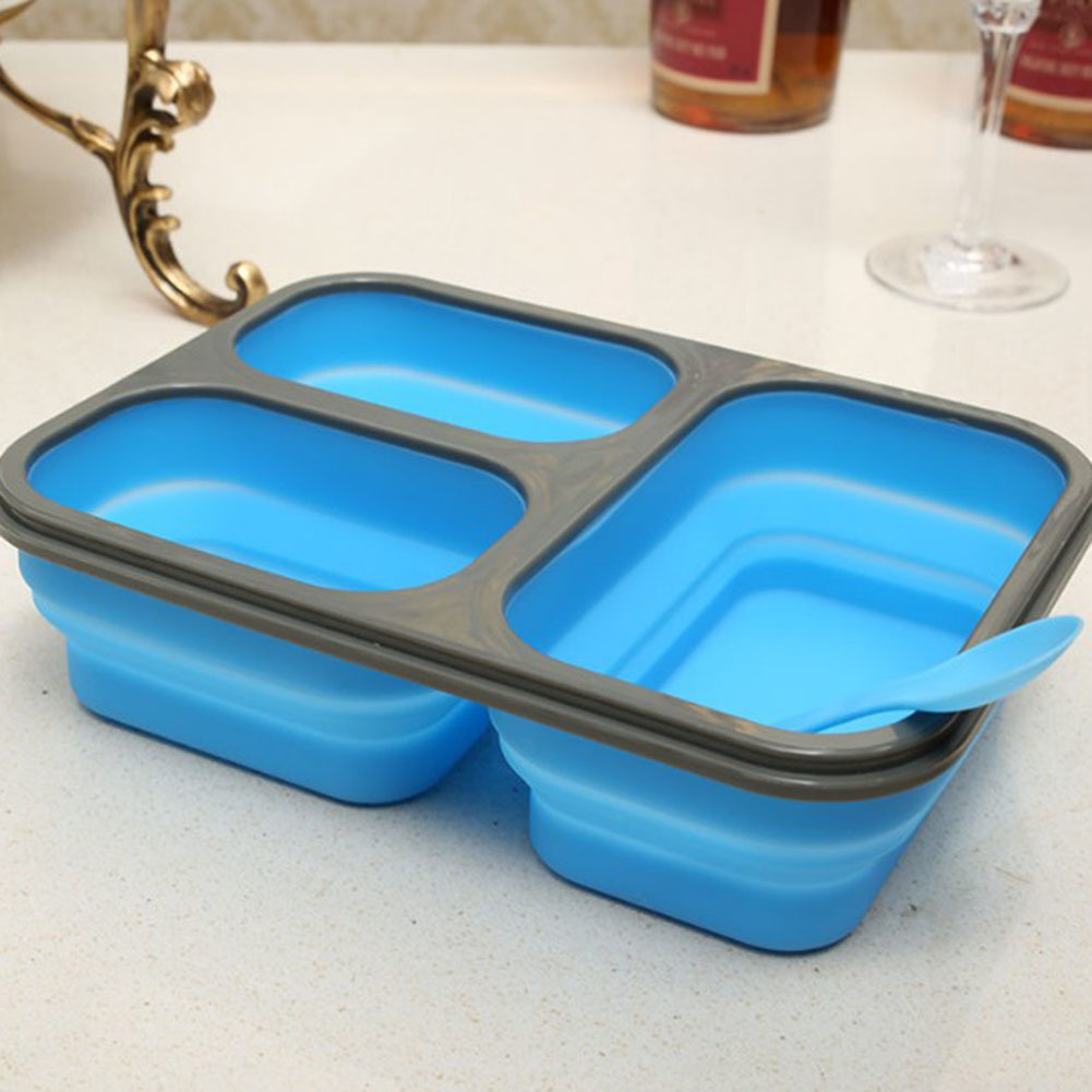 A Kitchen Is Launching An Express Lunch Service: 1Pc Large Capacity Silicone Lunch Boxes Food Storage