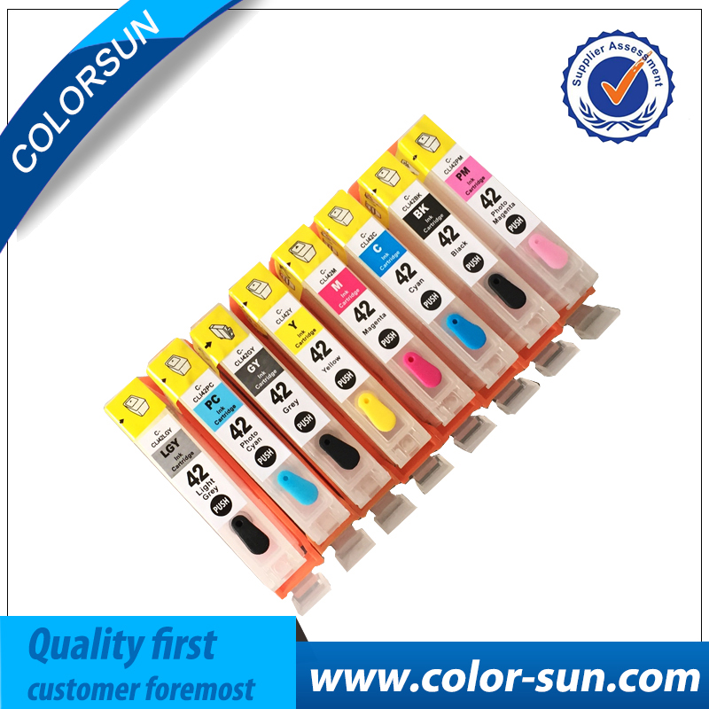 8 Colors for Canon CLI 42 Refillable Ink Cartridge for Canon Pro 100 Pro100 Printer With Chips