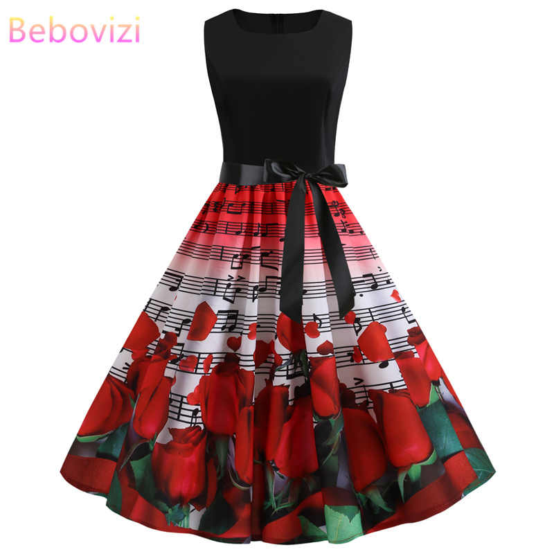 Bebovizi 2019 Summer Fashion Women Vintage Plus Size Bandage Dress Casual Office Elegant Patchwork Musical Note Print Dresses