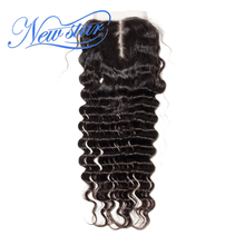 New Star Brazilian Deep Wave Lace 4x4 Middle Part Closure Virgin Human Hair Natural Color Swiss