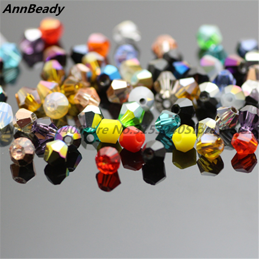 100pcs Mixcolor 4mm Bicone Crystal Beads Glass Beads Loose Spacer Beads DIY Jewelry Making Austria Crystal
