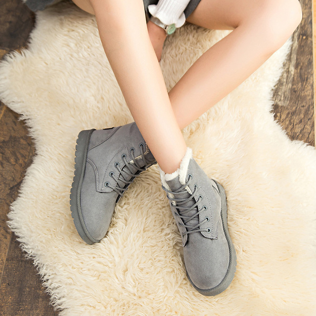 Women Boots Warm Winter Boots Female Fashion Women Shoes Faux Suede Ankle Boots For Women Botas Mujer Plush Insole Snow Boots 5