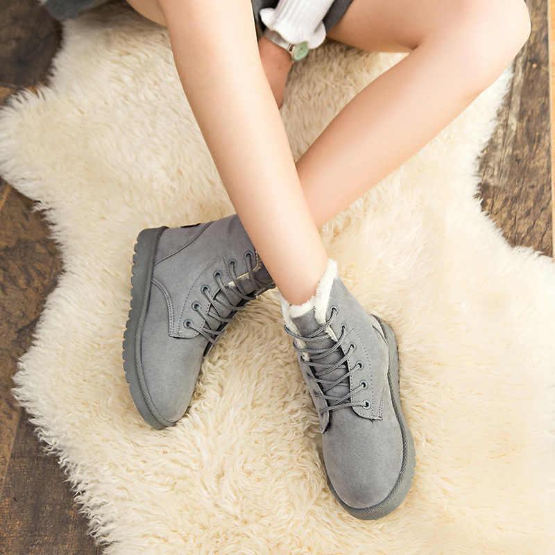 נשים חמות מגפי חורף מגפי אופנה נשים נעלי פו זמש קרסול מגפי נשים Botas Mujer קטיפה מדרסים שלג מגפיים