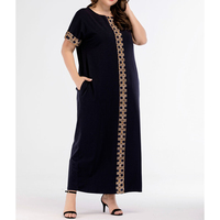 Long Muslim Dress Abayas For Women Dubai Turkish Plus Size Islamic Clothing Print Short Sleeve Arabic Robe Dresses Female Cloth