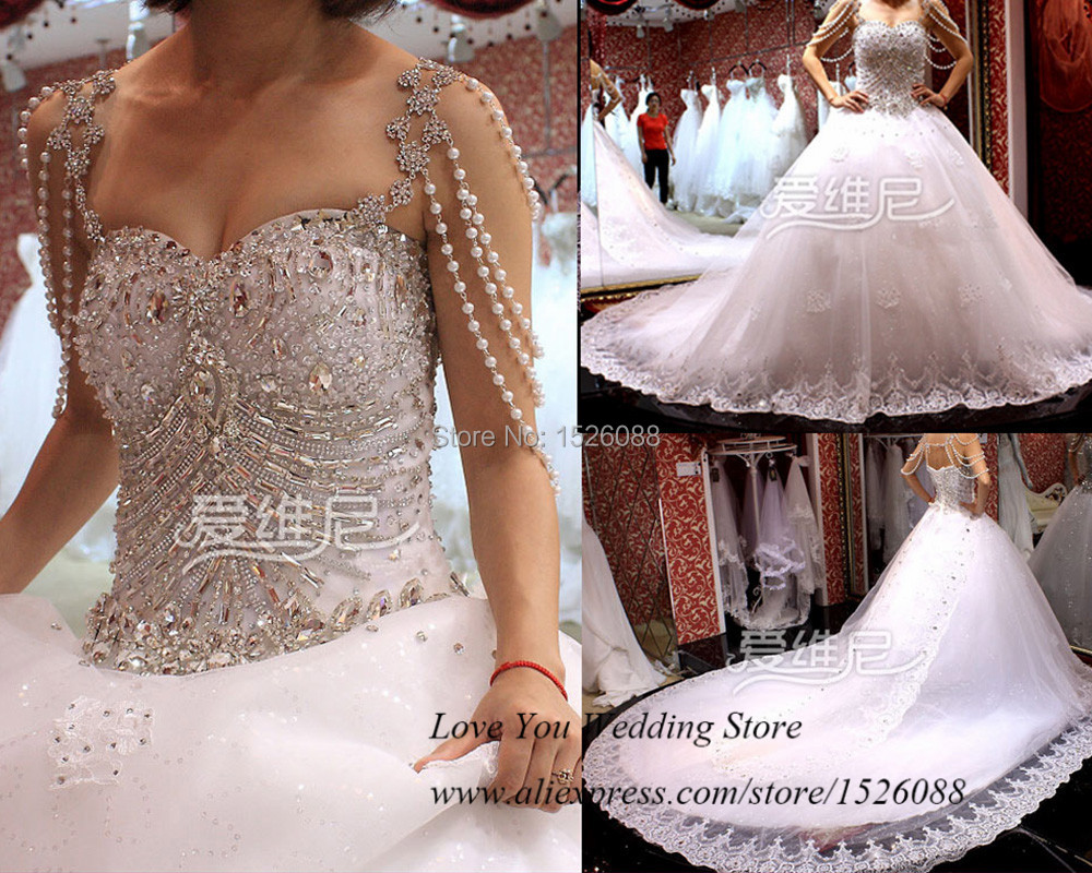 Luxury Crystal Wedding Dress 2015 Ball Gown Lace Wedding