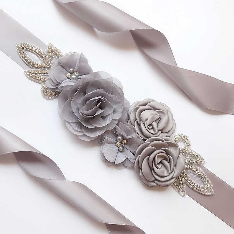 e9ce5fde613c5 ... Fashion Wedding Belts Flower Satin Wedding Dress Belt Bridal Ribbon Sash  Belt Party Bridesmaid Dress Girdle
