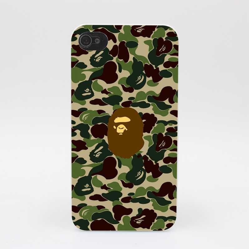 44GS Bape Newcomer Hardback Cover Hard White Case Cover for iPhone 4 4s 5 5s 5c SE 6 6s Plus Print
