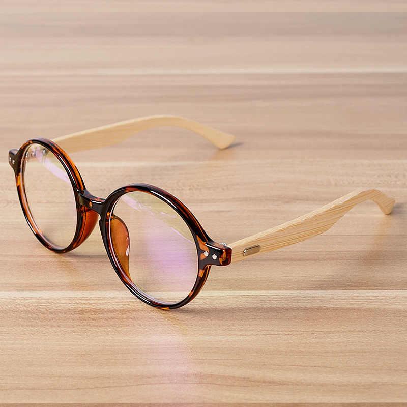 42e6f283a1 Round Glasses Frame Clear Lens Optical Frames Vintage Eyeglasses Wooden  Bamboo Brown Leopard Eyewear Frames Spectacle