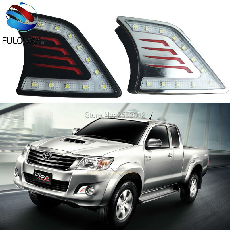 ФОТО Car-Styling High Bright Waterproof Lights LED Daytime running lights 12V For Toyota Hilux VIGO 2012 2013 2014 With Chromed Cover