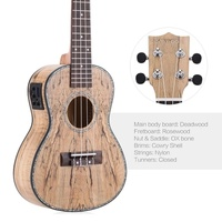 Second Hand ammoon 24 Deadwood Ukulele with LED EQ Cowry Shell Brims OX Bone Saddle 4 Strings Instrument Gift