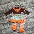 Девушки наряды дети благодарения оранжевые полосы брюки наборы рябить наряды цветочные девушки Halloween party одежда с аксессуарами