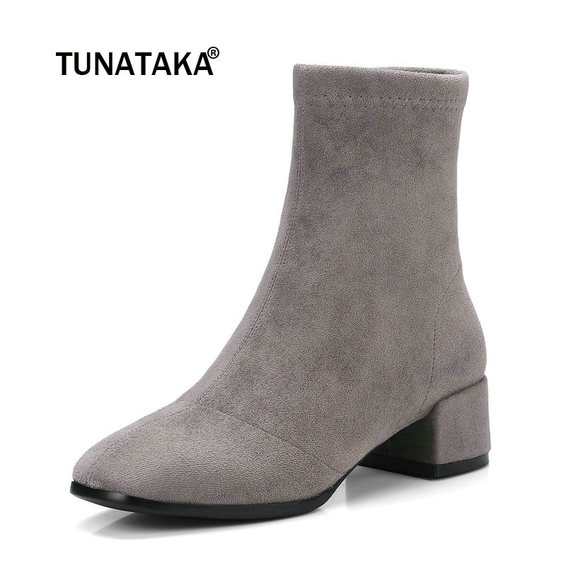Women Suede Side Zipper Ankle Boots Warm Comfortable Low Heel Winter Shoes Black Gray