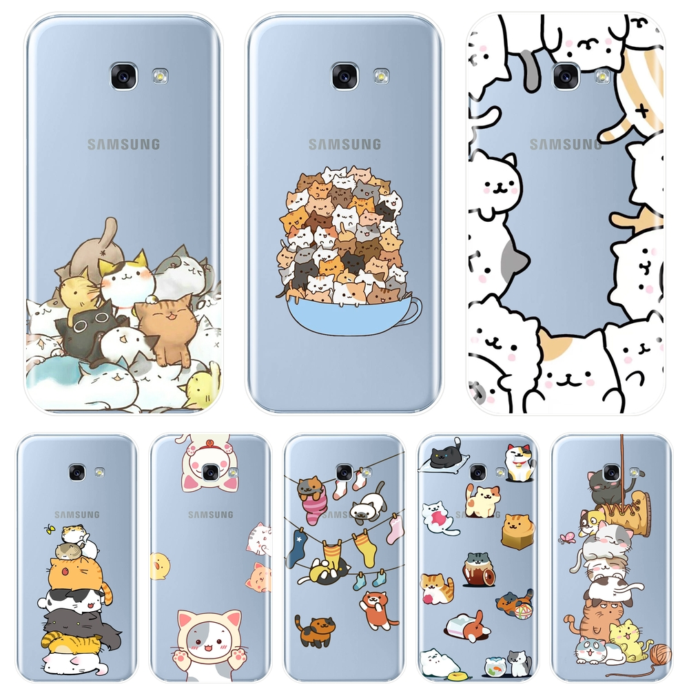 Back Cover For <font><b>Samsung</b></font> <font><b>Galaxy</b></font> A6 <font><b>A8</b></font> Plus <font><b>2018</b></font> A5 A7 Kawaii <font><b>Cat</b></font> Soft Silicone Phone <font><b>Case</b></font> For <font><b>Samsung</b></font> <font><b>Galaxy</b></font> A3 A5 A7 2016 2017 image