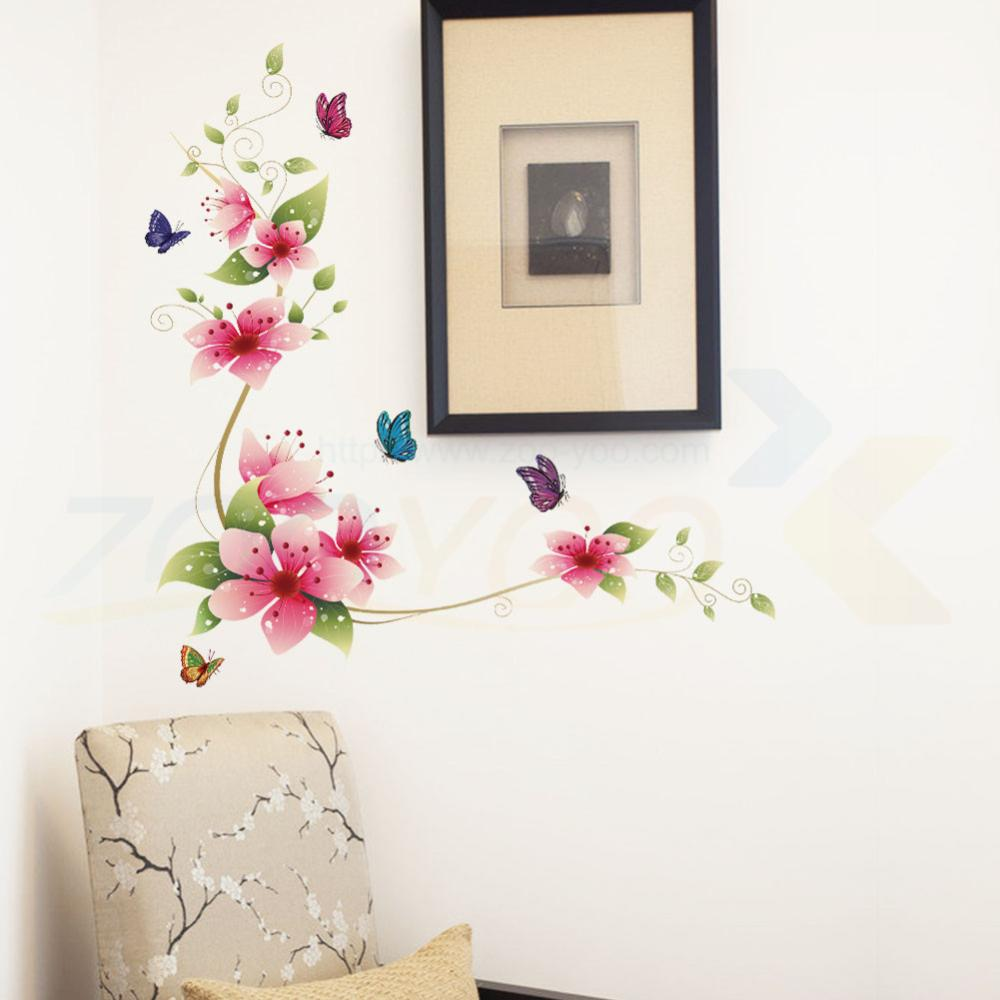 online get cheap vine wall art aliexpress com alibaba group fantastic flowers vine butterfly wall stickers living room decoration home stickers plant wall art posters