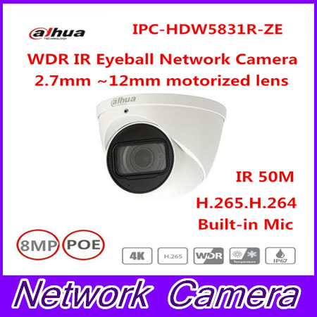 Free Shipping DAHUA Security IP Camera CCTV 8MP WDR IR Eyeball Network Camera with POE IP67 IK10 Without Logo IPC-HDW5831R-ZE free shipping dahua cctv security ip camera 3mp wdr ir bullet network camera ip67 ik10 with poe without logo ipc hfw8331e z5