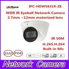 Free Shipping DAHUA Security IP Camera CCTV 8MP WDR IR Eyeball Network Camera with POE IP67 IK10 Without Logo IPC-HDW5831R-ZE