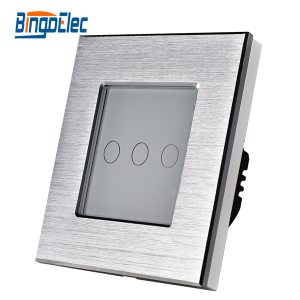 Hot Sale EU/UK Standard 3Gang 1Way Touch Screen Switch Silver Aluminum White Crystal Glass Panel Wall Switch AC110-250V 2016 hot sale home automation remote control touch switch wall switched eu standard 3gang 2way white crystal glass panel
