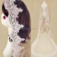 Одно-Слои белого цвета или цвета слоновой кости Очаровательная кружевная свадебная вуаль с длинными рукавами и очаровательным вуаль