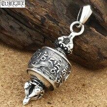 Gerçek 925 gümüş tibet OM Mani Padme Hum Dorje kolye vintage gümüş OM Dorje kolye budist kolye