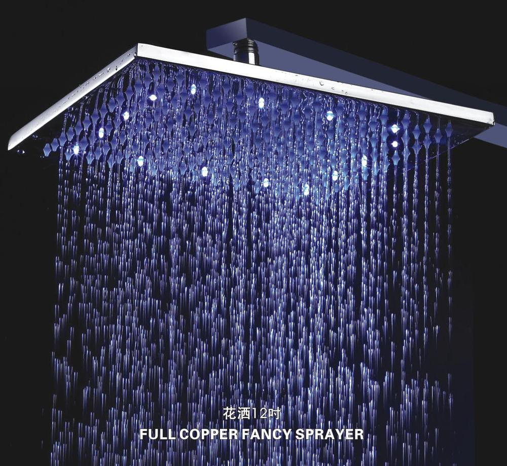 Lighting for showers Fiber Optic Color green Blue Red 12 Inch Square Chrome Overhead Led Rainfall Shower Head With 38 Cm Brass Shower Arm c 4209ain Shower Heads From Home Laopenprogramrlrinfo Color green Blue Red 12 Inch Square Chrome Overhead Led