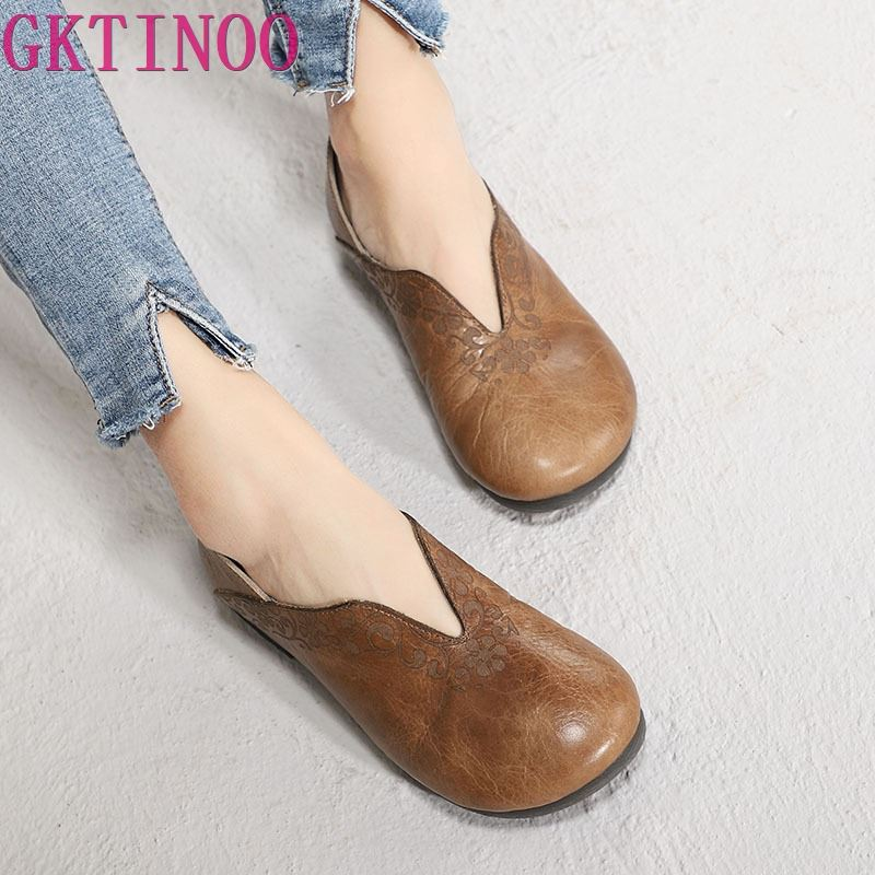GKTINOO Original Spring New Women Shoes Round Toe Comfortable Flat Shoes Genuine Leather Soft Sole Mother