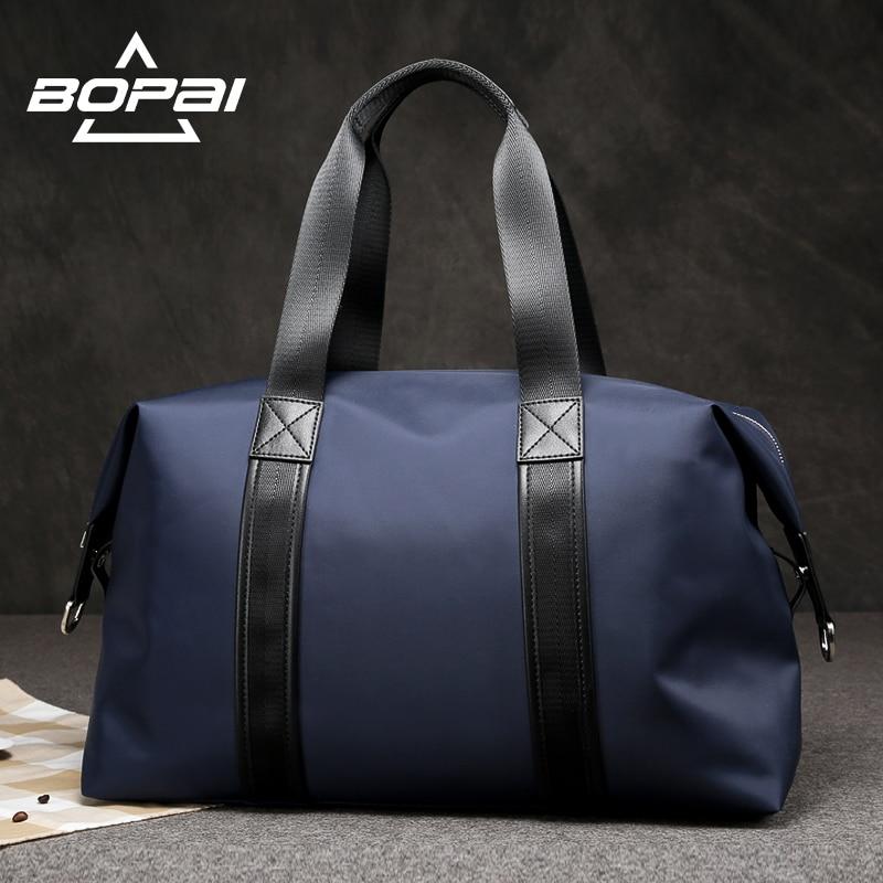 BOPAI 2017 Vīrieši Ceļojumi Duffle Bags Ļoti labs slodzes gultnis Sieviešu nakts nedēļas nogales ceļojuma plecu somas Melnā zila Unisex valise