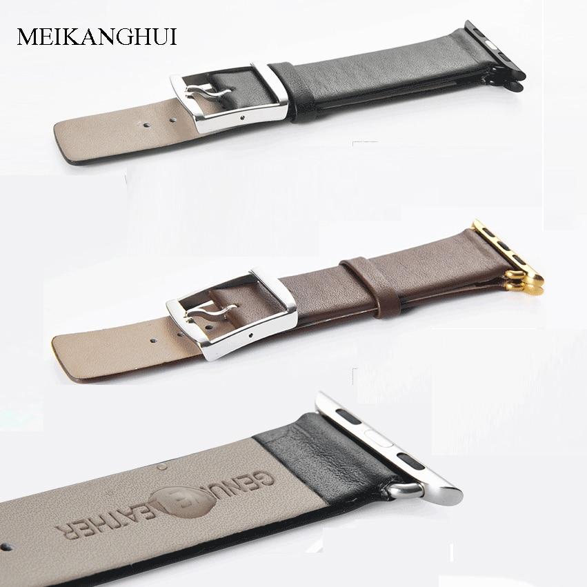 MEIKANGHUI Genuine Leather Watchbands Fits-all of Apple Watch Series 38 mm 42 mm i watch Strap 2 Color Black Brown Women /Men