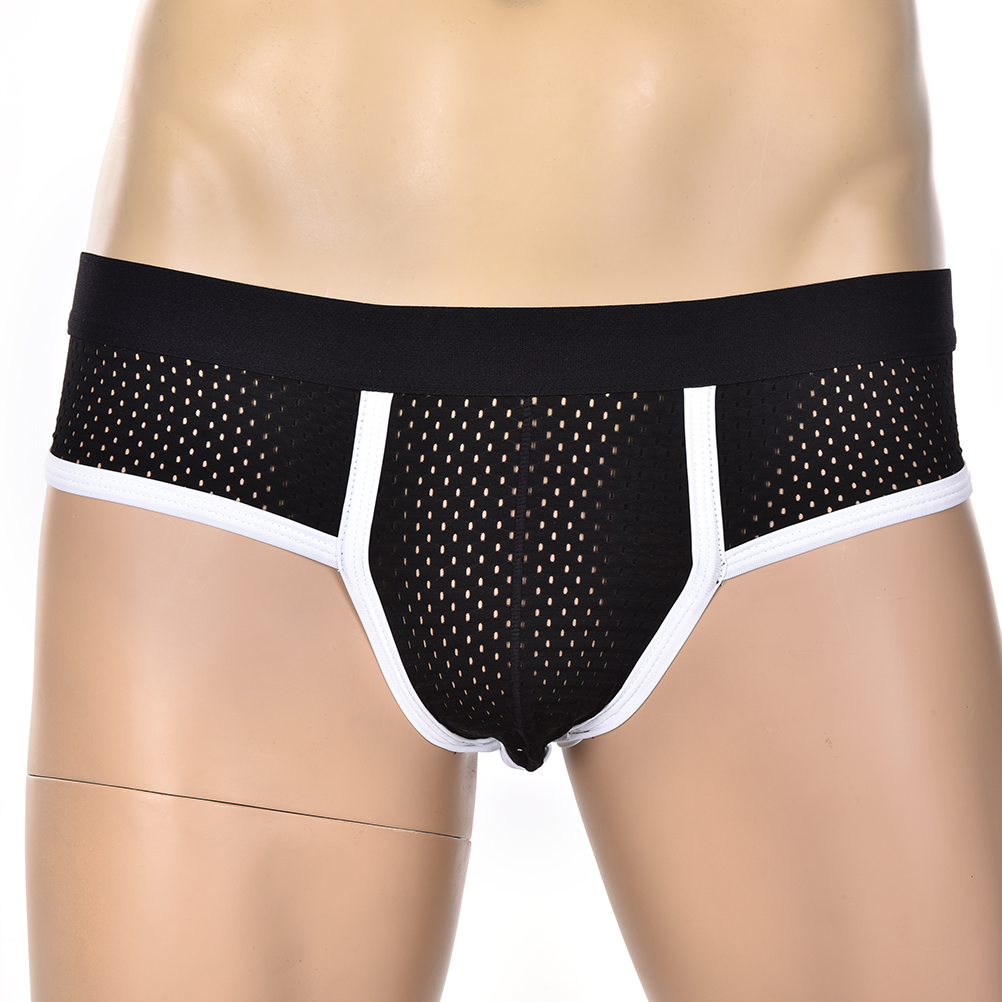 Men's Acrylic Mesh Low-Rise Briefs U Convex Bulge Pouch Underwear Underpants
