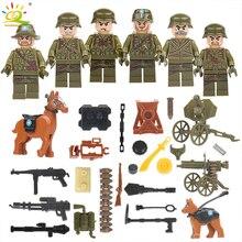 6 stks / partij Militaire Figuur Wereldoorlog II Leger Soldaten Krachten Bouwstenen Compatibel Lego Wapen Machinegeweer Mortel Baksteen Speelgoed