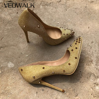 Veowalk 2019 New Design Gold Revits Women Sexy Pointed Toe Stiletto High Heels Shiny Studs Ladies Wedding Party Pumps Shoes