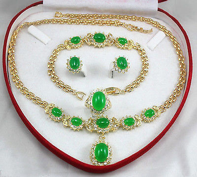women's jewelry green stone Earring Bracelet Necklace Ring>>plated watch wholesale Quartz stone CZ crystal