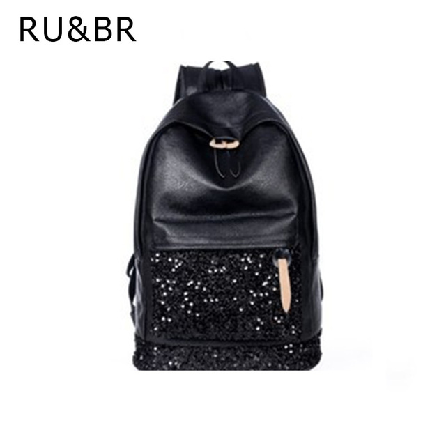 RU&BR New Fashion Casual Women Backpacks Embroidered Sequins Backpacks Women Leather Travel Backpack School Bags For Teenagers