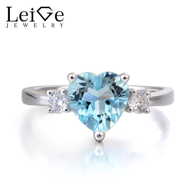 Leige Jewelry Engagement Rings Natural Aquamarine Ring Blue Gems Heart Cut Gemstone March Birthstone 925 Sterling