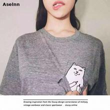 Aselnn Women Summer Harajuku Character Printed T Shirt Novelty Kawaii Short Sleeve Pocket T Shirt Women Plus Size Loose Blusa