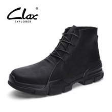 CLAX Mens Boots Spring Autumn Genuine Leather Casual Shoes Male Boot High Shoe Big Size