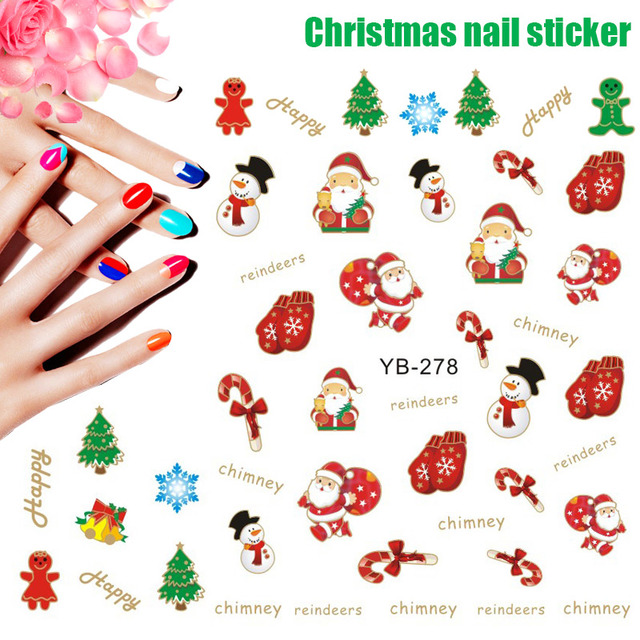 christmas nail art stickers manicure snowflakes cute snowmen christmas tree nail decals nail decorations stickers