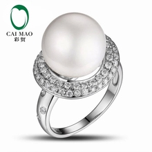 CaiMao Pearl cut Semi Mount Ring Settings & 0.65ct Diamond 14k White Gold Gemstone Engagement Ring Fine Jewelry
