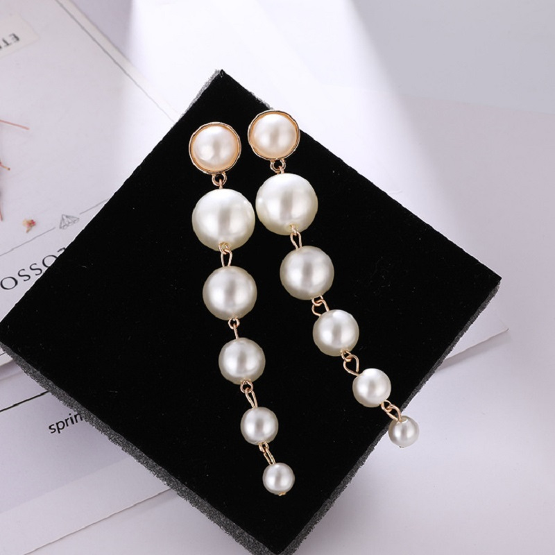New Fashion Big Simulated Pearl Drop Earrings For Women Pearls String Statement Jewelry Wedding Party Gift Hot Sale
