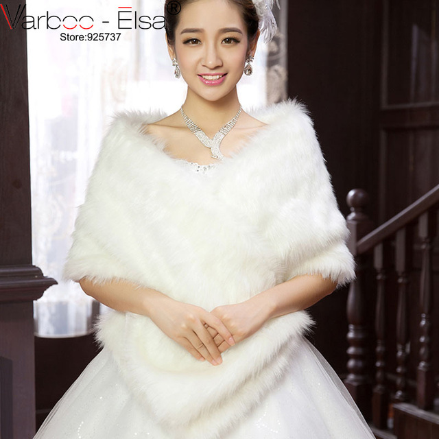 VARBOO ELSA 2017 New Bolero Renda Lady Winter Wedding Cape Ivory Faux Fur Coat Jacket