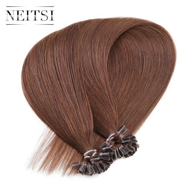 Neitsi Straight Keratin Capsules Human Fusion Hair Nail U Tip Machine Made Remy Pre Bonded Hair Extension 16 3