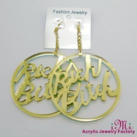 4 Color Ways Punk And Hip Hop Solid And Mirror Acrylic Stud Earring RICH BITCH