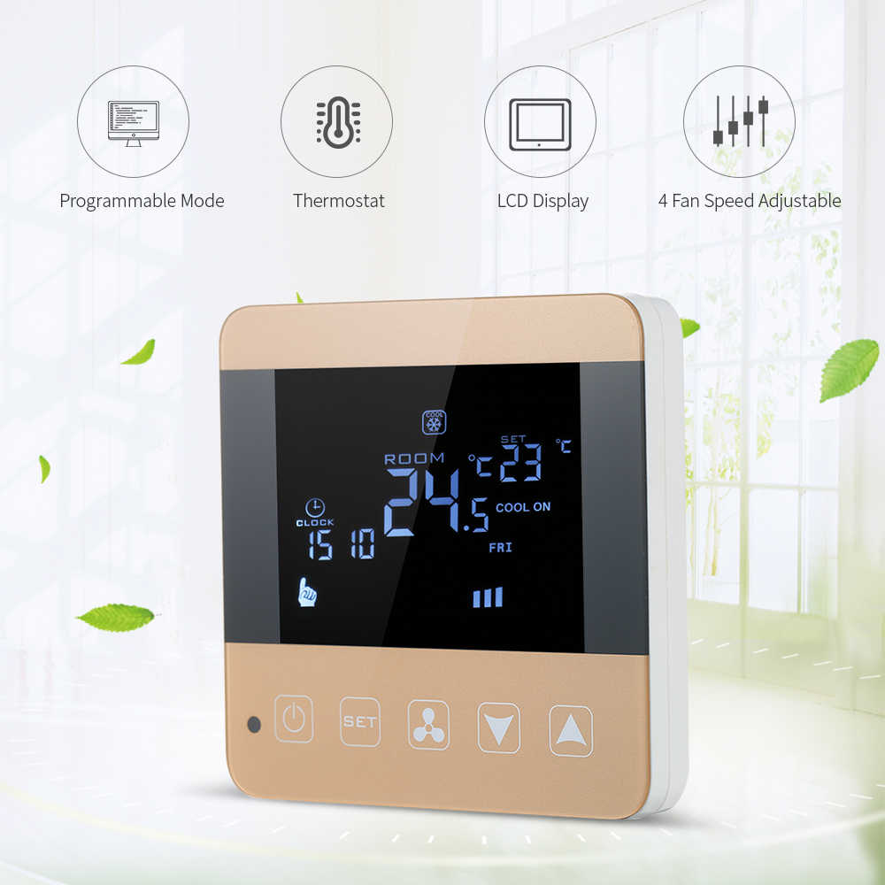 Weekly Programmable Thermostat Temperature Controller LCD Touch Screen Heating Condition Underfloor Thermost White Backlight