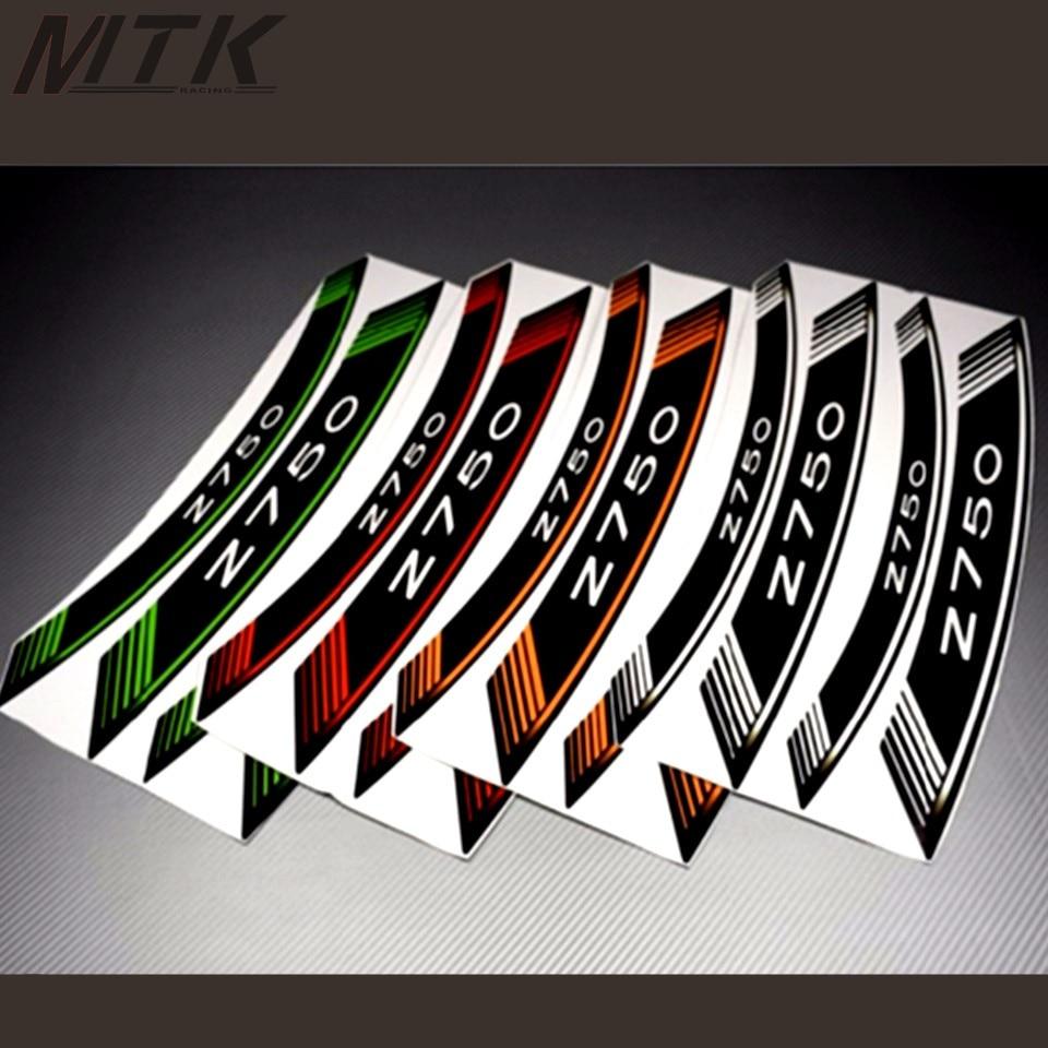 For KAWASAKI Z750 Z 750Motorcycle 8X Thick Edge Outer Rim Sticker Stripe Wheel Decals