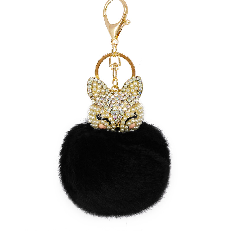 8Color Best Cool Puff Ball KeyChains Cute Fox Key Chains Kids Womens Personalised Rings Key Chains Car Bag  Key Chains 5