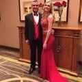 Sexy Red duas partes Prom vestidos longos as mulheres cristal Beading vestidos de festa vestido para a graduação 2016 New Arrival