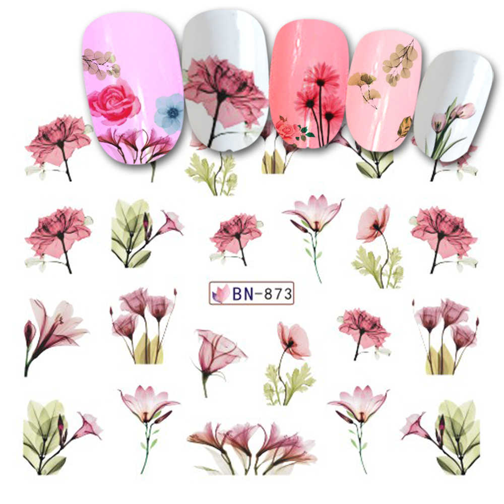 1 Sheet Colorful Water Transfer Nail Art Stickers Decals Charming Bloom Slider For Nails DIY Tips Decoration LABN871-876