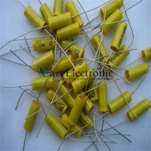 Image 2 - סיטונאי 50 יחידות מוביל ארוך צהוב אלקטרוניקה הצירי פוליאסטר קבלים 0.047 uF 630 V צינור fr amp audio משלוח חינם