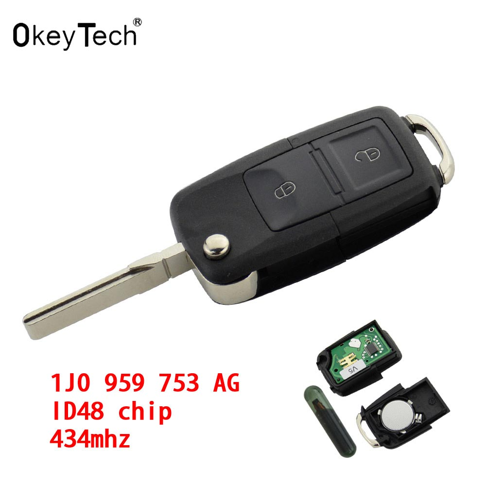 OkeyTech 2 Button Remote Switchblade key car Flip Key 433MHz ID48 Chip For VW Volkswagen Bora Golf Passat Polo T5 1J0 959 753 AG