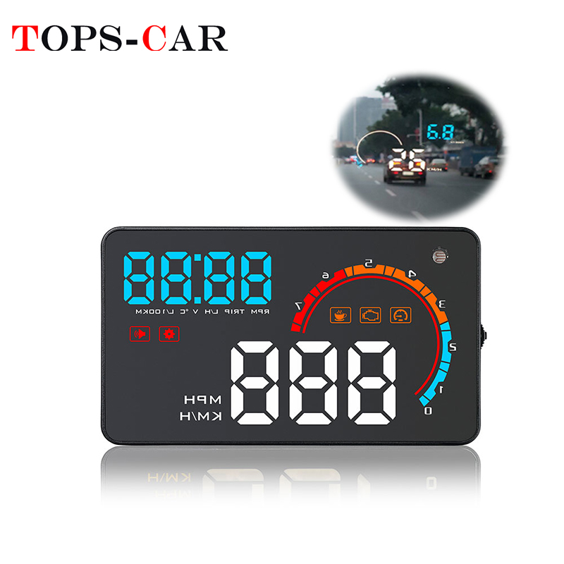 """HUD Head Up Display 5.5/"""" OBD II 2 Speed RPM Warning System for all models Jeep"""