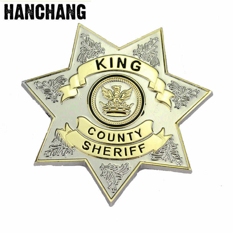 Joyas hantang uniforme de The Walking Dead estrella del distrito del Sheriff carta insignia broche Gaes Cosplay broches de pin de solapa Drop Ship